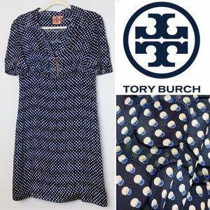 TORY BURCH Blue Polkadot Short Sleeve Dress Size 8